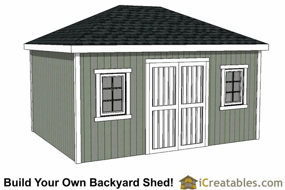 12x16 shed plans professional shed designs easy for Hip roof garage plans