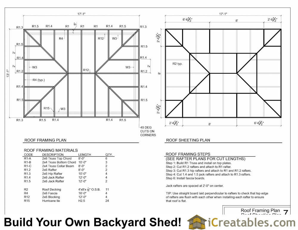 12x16 hip roof shed plans for Hip roof design plans