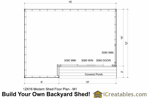 12x16 modern shed floor plan