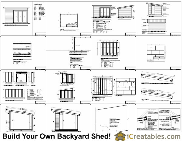 Sample of our 12x16 modern shed plans: