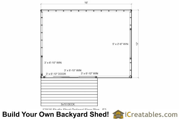 12x16 office shed plans floor plan