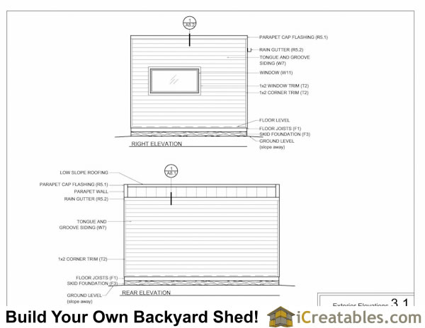 12x16 modern shed elevations