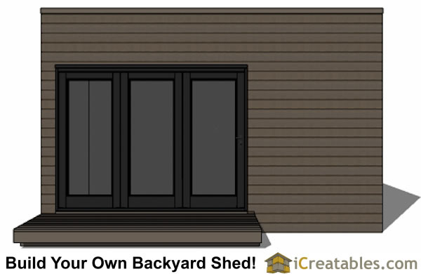 12x16 modern shed plan with flat roof front elevation