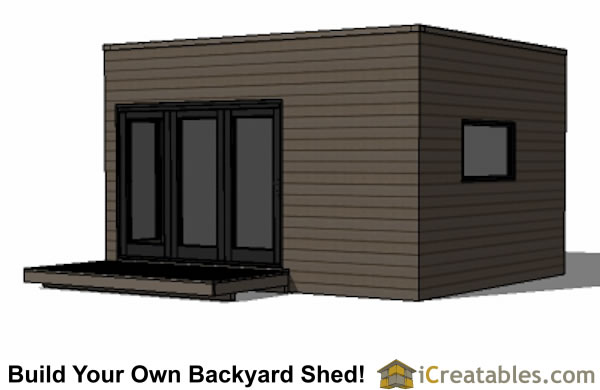 12x16 modern shed plan with flat roof front