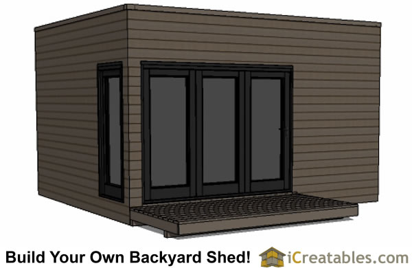 12x16 modern shed with flat roof