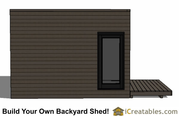 12x16 modern shed plan with flat roof end elevation