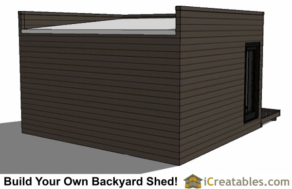 12x16 modern shed plan with flat roof rear view