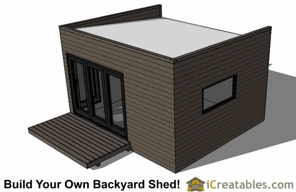 Marvelous ... 12x16 Modern Shed Plan With Flat Roof Top View