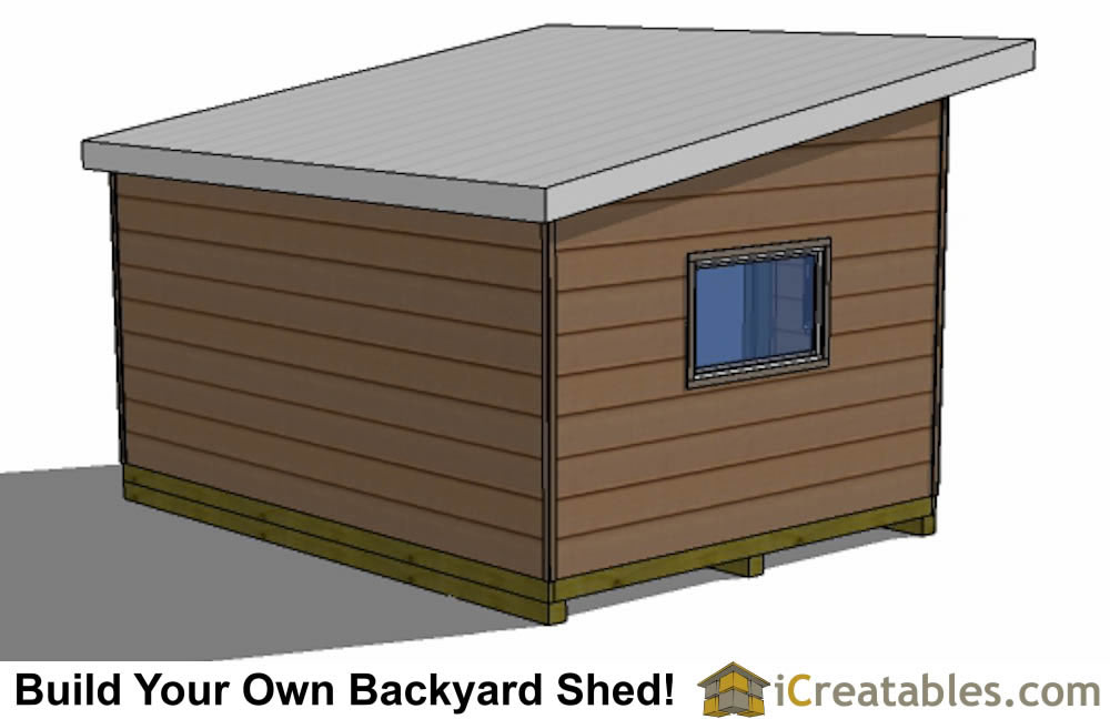 12x16 modern shed plans rear front one door