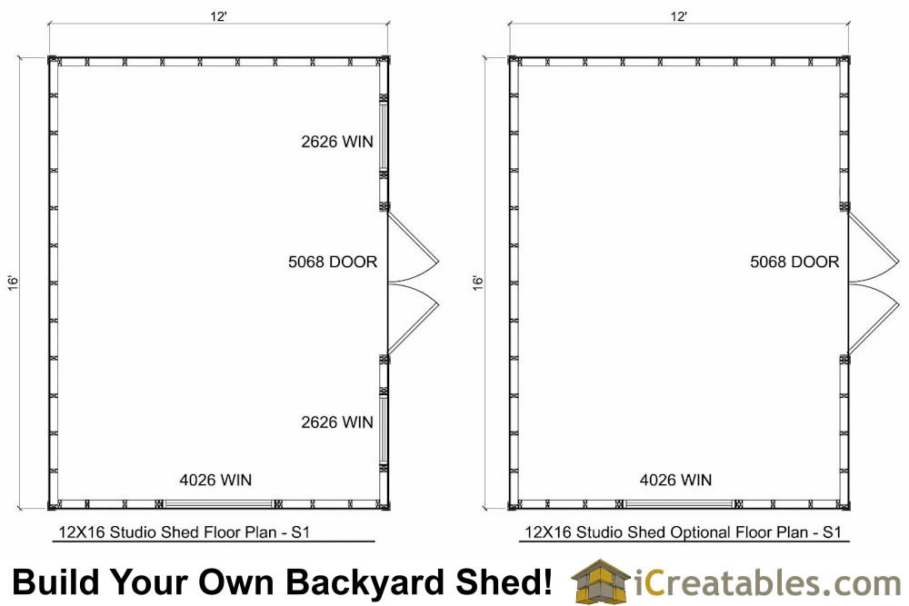 12x16 studio shed plans center door for Shed floor plans