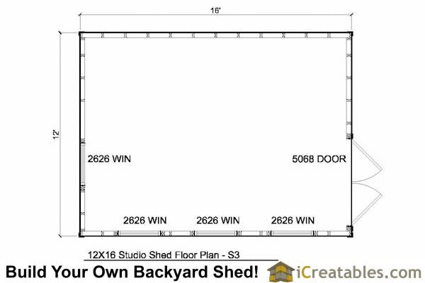 12x16 studio shed plans end door for 12x16 shed floor plans