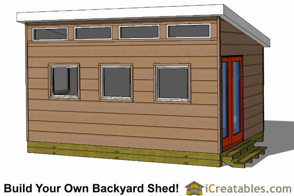 12x16 modern shed design front elevation
