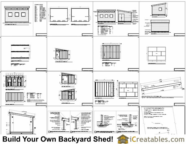 10x14 modern shed plans