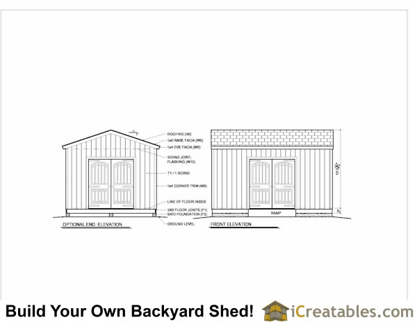 12X16 shed plans elevations