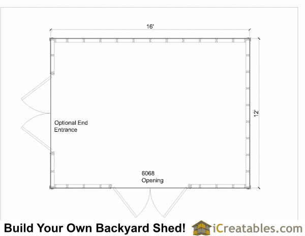 12x16 gable shed floor plan