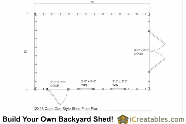 12x18 cape cod style shed plans 12x18 garden shed for Simple cape cod floor plans