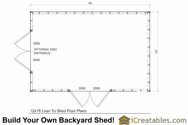 12x18 Lean to shed plans floor plan