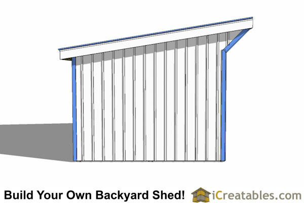 12x18 run in shed plans left elevation