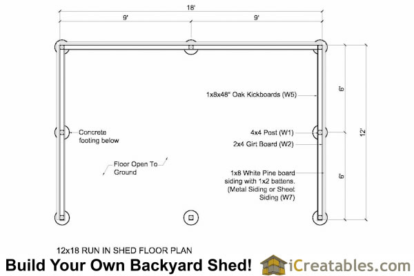 12x18 run in shed floor plan