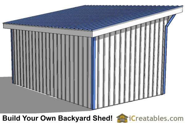 12x18 run in shed plans rear view