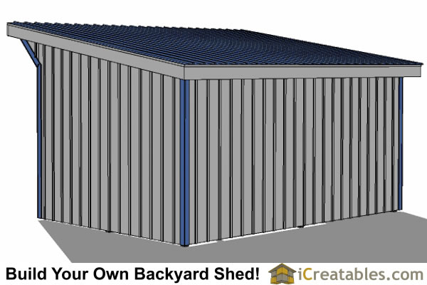 12x18 run in shed plans right rear