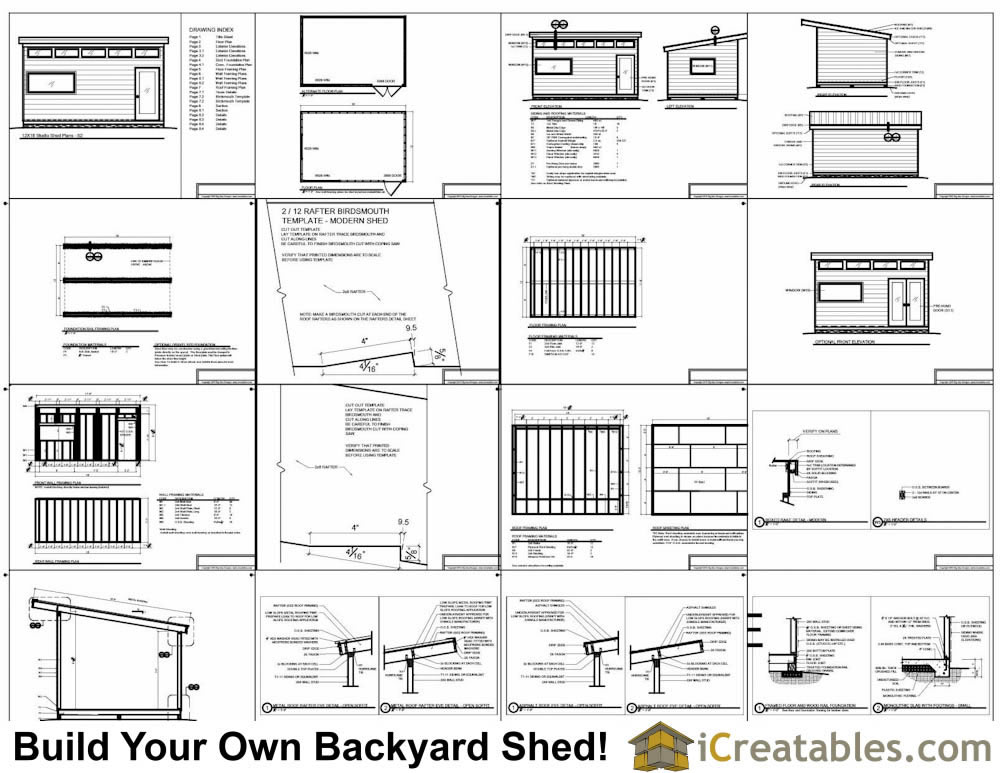 12x18 modern shed plans