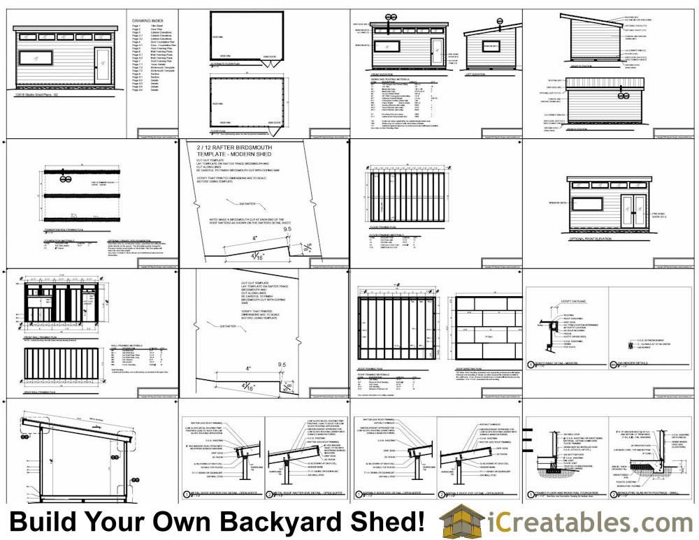 12x16 Studio Shed Plans – 12X18 Garage Plans