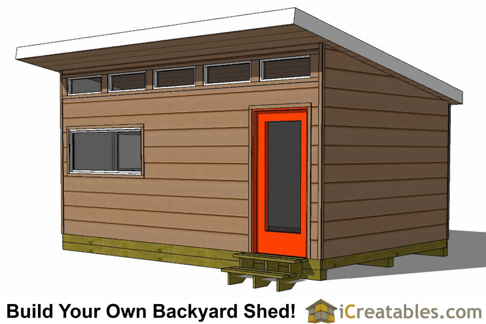 12x18 Modern Shed Plans Side Door