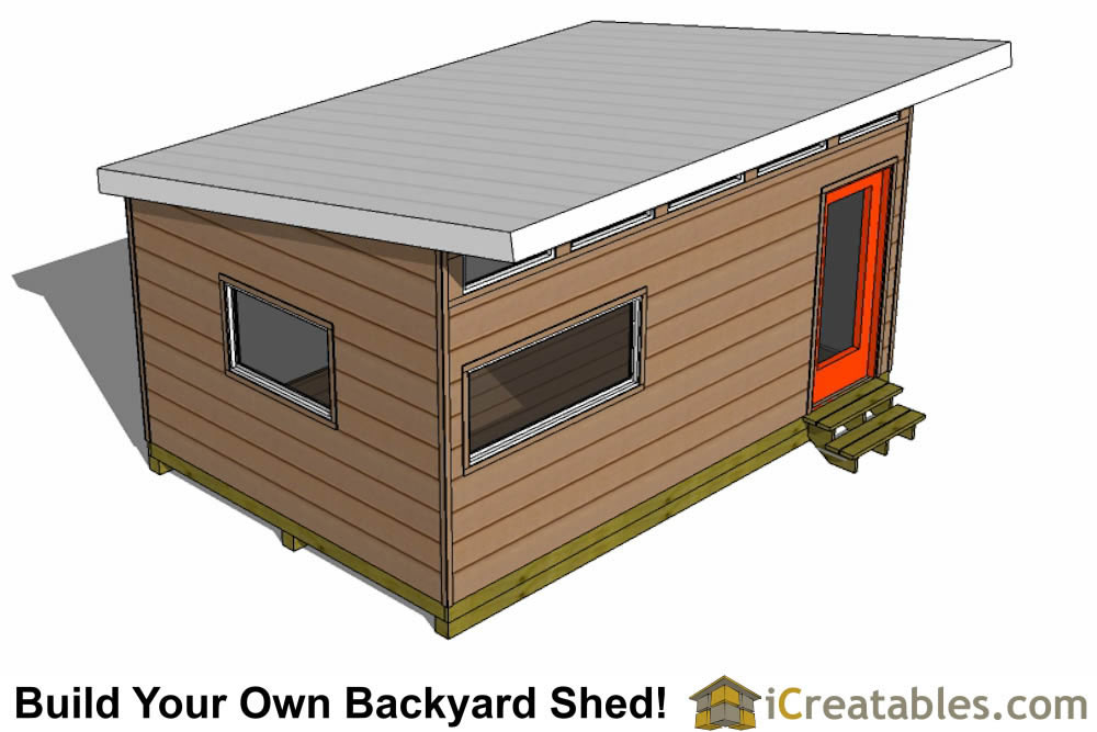 modern shed plans - office shed plans front