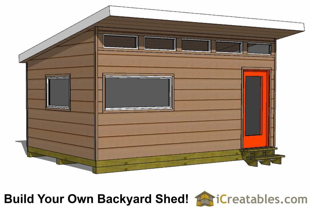 12x18 modern shed plans - office shed plans front