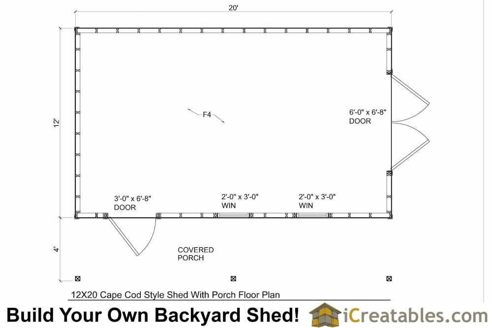 12x20 Cape Cod Shed With Porch Plans – Garden Shed Floor Plans