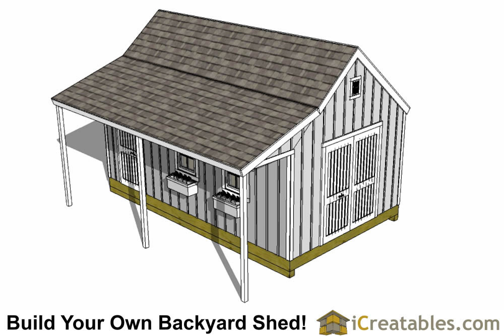 12x16 cape cod garden shed plans with porch left rear