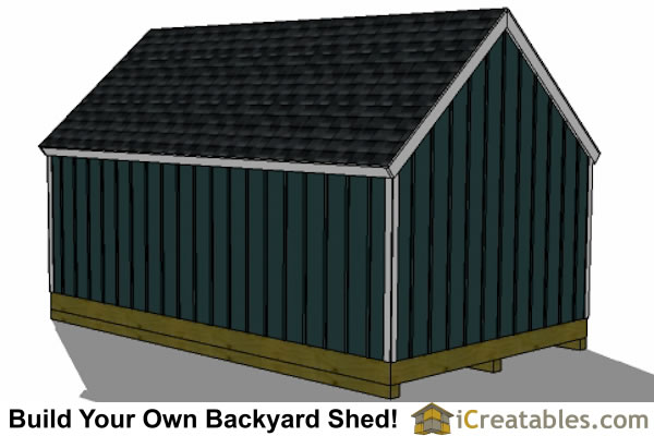 16x20 colonial style shed plans rear view