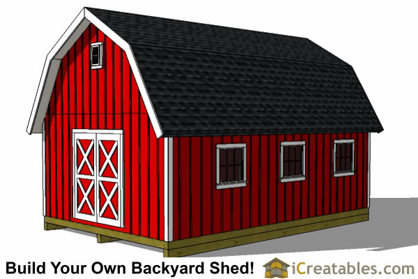 12x20 gambrel shed front left