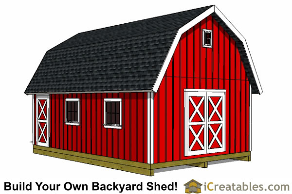 12x20 Gambrel Shed Plans front