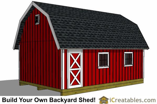 12x20 Gambrel Shed Plans Rear View ...