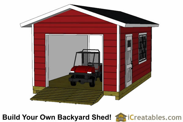 12x20 shed plans with garage door end view with 4 wheeler