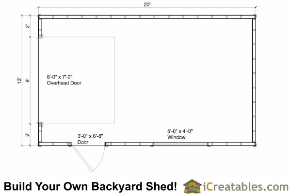 12x20 garage door shed floor plans