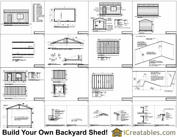 16x20 traditional shed plans build your own large shed for Material list for garage