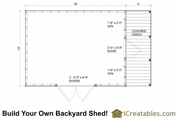 12x16 shed floor plans