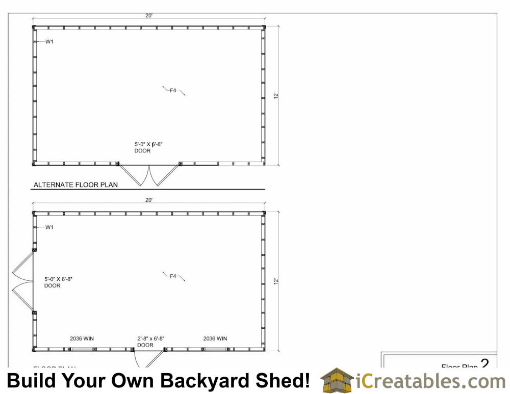 12x20 hip roof shed plans for Shed floor plans