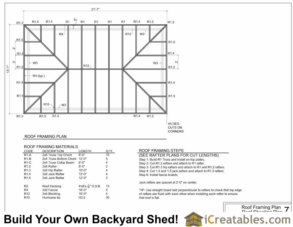12x20 hip roof shed plans for Roof plans