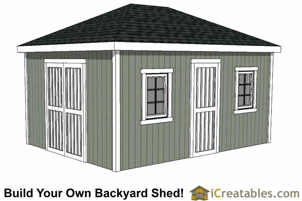 12x16 hip roof shed with double door on end