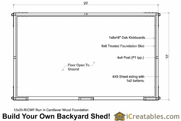 12x20 run in horse barn floor plan