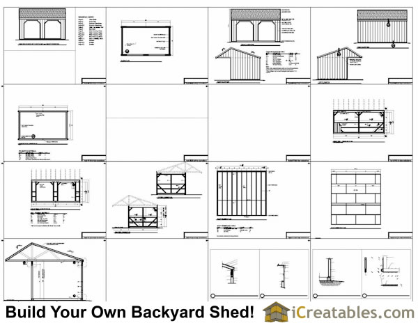 12x20 run in shed with cantilever building plans