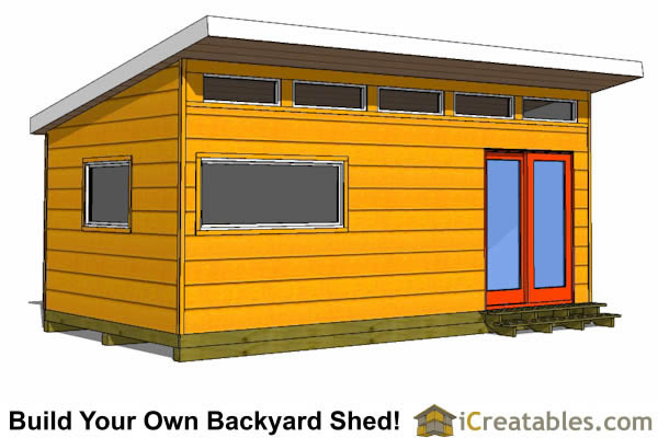 12x20 modern studio shed plans double doors
