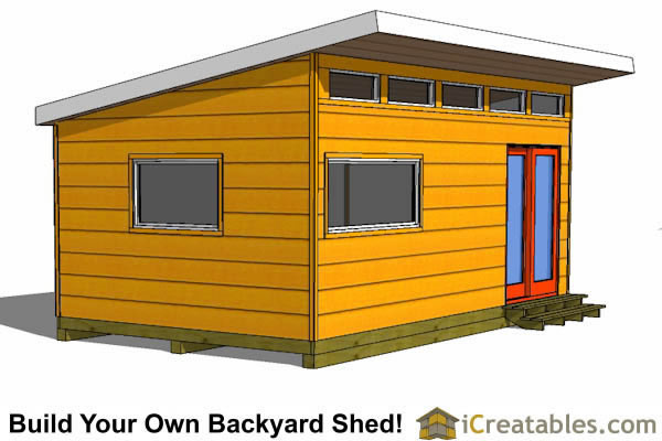 12x20 modern studio shed plans left side