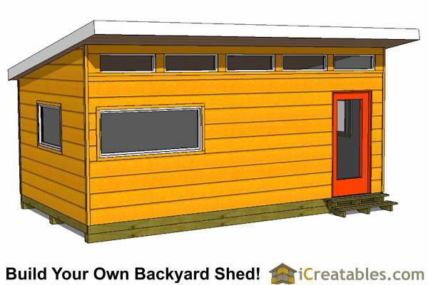 12x20 Modern Studio Shed Plans End Door
