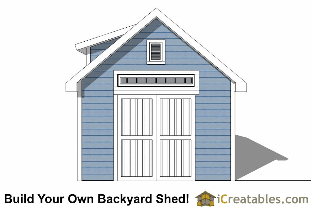 12x20 shed with dormer roof plans elevation