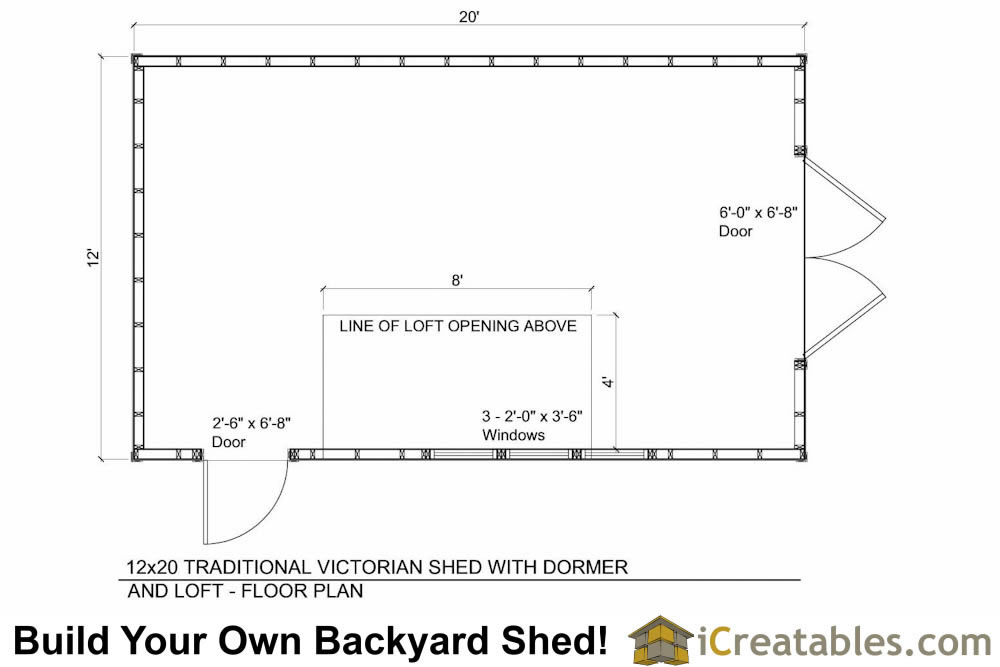 12x20 shed with dormer roof floor plans